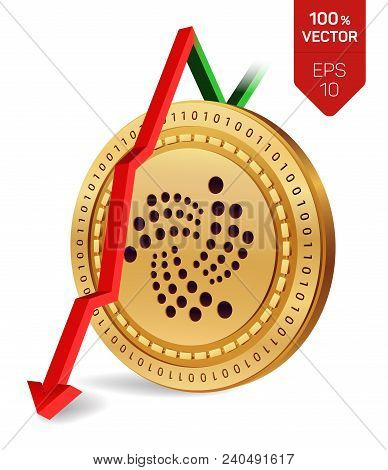 Iota. Fall. Red Arrow Down. Iota Index Rating Go Down On Exchange Market. Crypto Currency. 3d Isomet