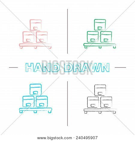Cardboard Boxes On Pallet Hand Drawn Icons Set. Warehouse Color Brush Stroke. Parcels Storage. Isola
