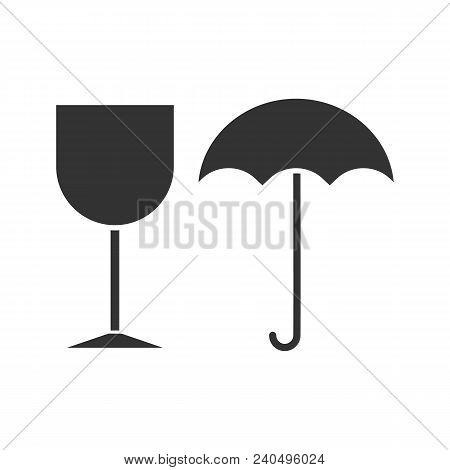 Fragile Glyph Icon. Keep Dry. Handle With Care. Silhouette Symbol. Negative Space. Vector Isolated I