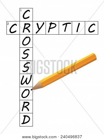 Vector Of A Partial Cryptic Crossword Grid Completed With Pencil