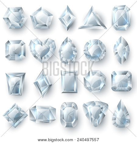 Silver Diamonds Gems, Cutting Stones Jewellery Vector Set Isolated On White Background. Brilliant St
