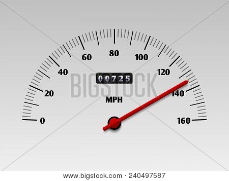 Car Speedometer With Speed Level Scale Or Tachometer Vector Illustration Isolated On White Backgroun