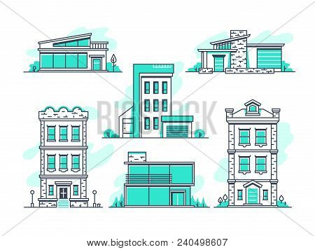Houses And Buildings Property And Accommodation Line Icons. Modern Architecture Outline Symbos Isola