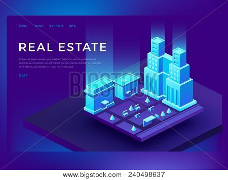 Real Estate Web Site Design With 3d Isometric Buildings. Smart City Technology Vector Business Innov
