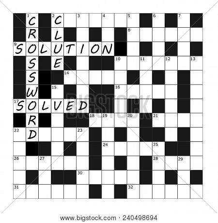 A Vector Crossword Grid Part Completed With The Words Crossword, Clue, Solution And Solved
