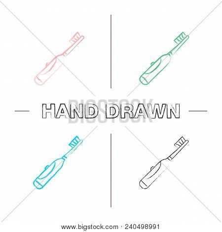 Electric Toothbrush Hand Drawn Icons Set. Color Brush Stroke. Teeth Cleaning. Isolated Vector Sketch