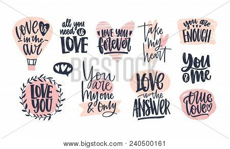 Collection Of Stylish Valentine's Day Lettering Handwritten With Elegant Cursive Font. Romantic Phra