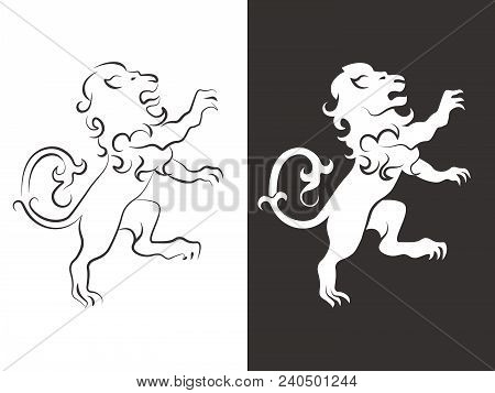 Heraldic Lion Vector. Line And Silhouette Lions For Arms. Animal Heraldic Leo Icon, Royal Insignia F