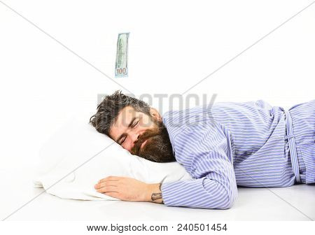 Man With Sleepy Smiling Face Lies On Pillow, Sleeps. Hipster With Beard And Mustache Sleeping, Dream