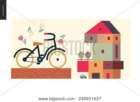Simple Things - Color - Flat Cartoon Vector Illustration Of Four Storey Colorful Countryside House,