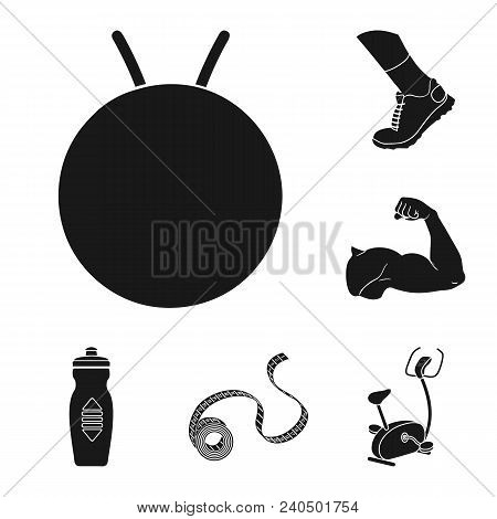 Fitness And Attributes Black Icons In Set Collection For Design. Fitness Equipment Vector Symbol Sto