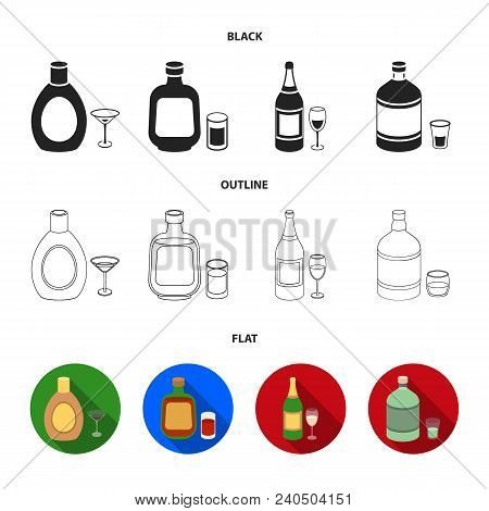 Liquor Chocolate, Champagne, Absinthe, Herbal Liqueur.alcohol Set Collection Icons In Black, Flat, O