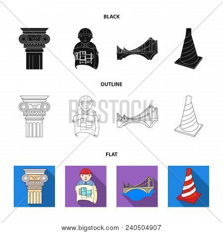 Column, Master With Drawing, Bridge, Index Cone. Architecture Set Collection Icons In Black, Flat, O