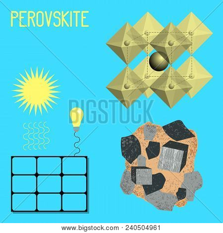 Mineral Perovskite. Mineral Drawing, Chemical Formula, Solar Battery. Sun Light Bulb