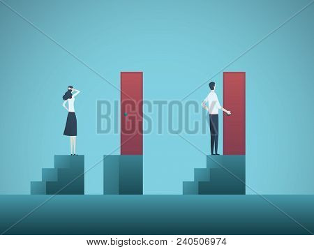 Business Inequality Vector Concept With Businessman And Businesswoman Figure On Steps. Symbol Of Dis
