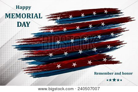 Happy Memorial Day. Poster Or Banner Of Happy Veterans Day With U.s.a Flag Background.