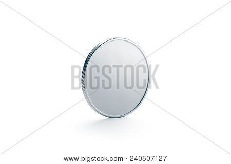 Blank Silver Coin Mock Up, Isolated, Side View, 3d Rendering. Empty Piece Of Money Mockup Stand. Cle