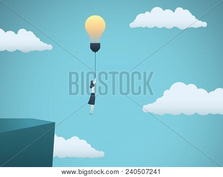 Business Creativity Vector Concept With Business Woman Flying Off A Cliff With Lightbulb. Symbol Of