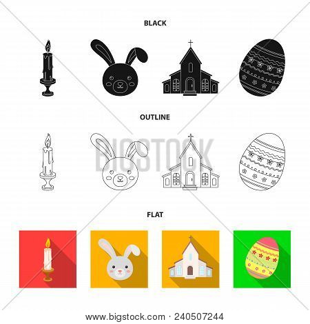Church, Candle, Easter Bunny And Painted Egg.easter Set Collection Icons In Black, Flat, Outline Sty