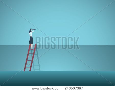 Business Vision Vector Concept With Business Woman Standing On Top Of Ladder Above Wall. Symbol Of O