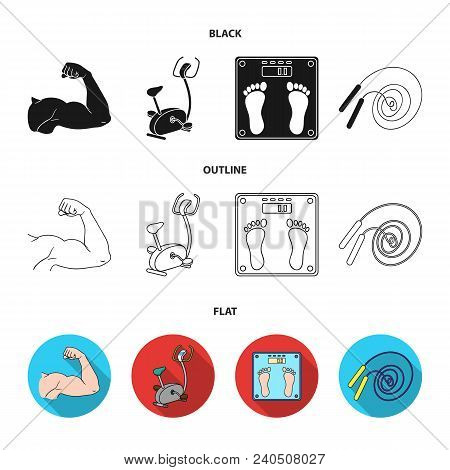 Biceps, Exercise Bike, Scales For Weighing, Skalka. Fitnes Set Collection Icons In Black, Flat, Outl