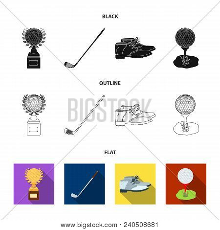Cup, Golf Club, Ball On The Stand, Golfer Shoes.golf Club Set Collection Icons In Black, Flat, Outli