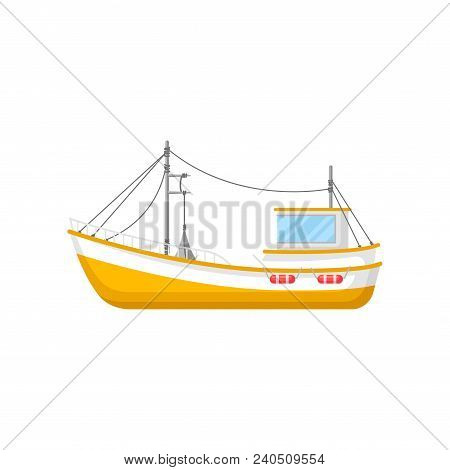 Illustration Of Yellow Fishing Trawler. Ship With Trawling Gear And Lifebuoys. Marine Vessel For Ind