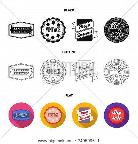 Limited Edition, Vintage, Mega Discont, Dig Sale.label, Set Collection Icons In Black, Flat, Outline
