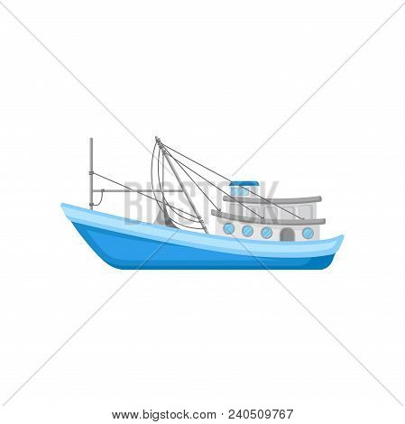 Large Commercial Fishing Boat With Trawling Equipment. Blue Marine Vessel For Industrial Seafood Pro