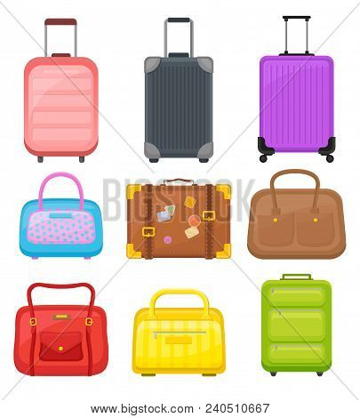 Collection Of Various Travel Bags. Suitcases On Wheels, Elegant Women Handbags And Retro Case With S