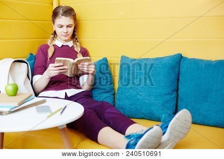 Young reader with book relaxing on leather sofa and soft pillows at break in college cafe