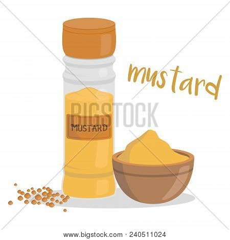 Vector Mustard Illustration Isolated In Cartoon Style. Herbs And Species Series