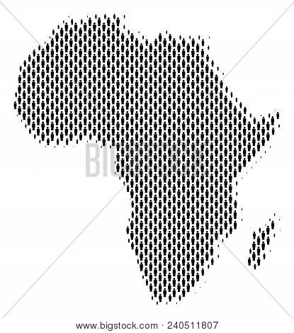 Demography Africa Map People. Population Vector Cartography Pattern Of Africa Map Composed Of Person