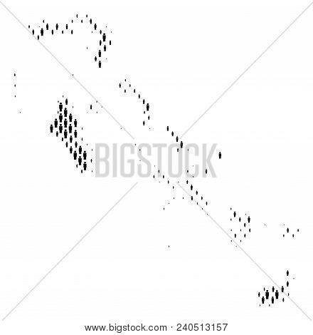 Demography Bahamas Islands Map People. Population Vector Cartography Mosaic Of Bahamas Islands Map M