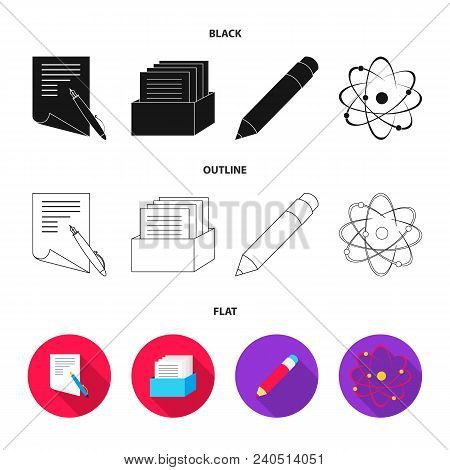 A Pen With Paper, A Catalog In A Box, A Red Pencil, An Atom With A Core. School Set Collection Icons