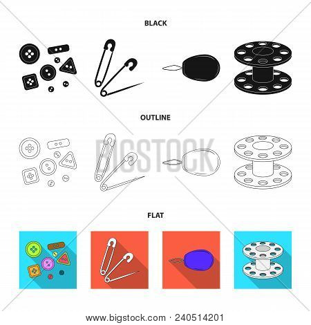 Buttons, Pins, Coil And Thread.sewing Or Tailoring Tools Set Collection Icons In Black, Flat, Outlin