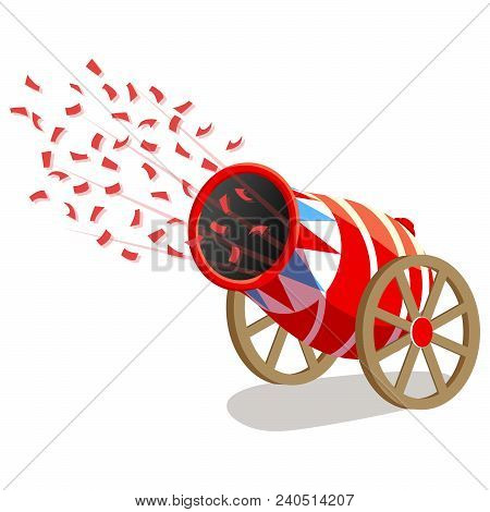 Circus Cannon With Confetti Isolated On White Background. Vector Illustration
