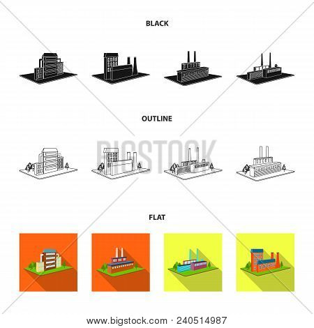 Processing Factory, Metallurgical Plant. Factory And Industry Set Collection Icons In Black, Flat, O