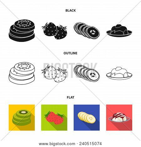 Fruits And Other Food. Food Set Collection Icons In Black, Flat, Outline Style Vector Symbol Stock I