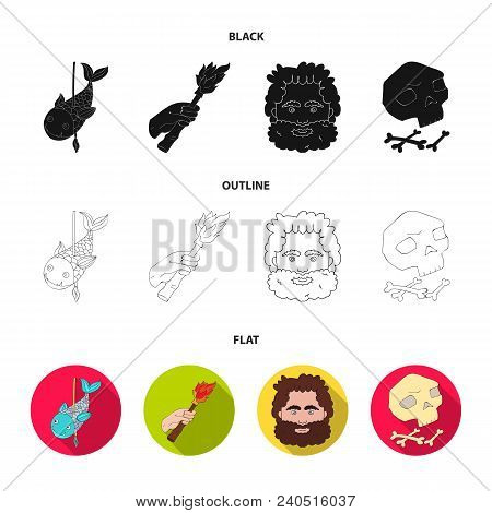 Primitive, Fish, Spear, Torch .stone Age Set Collection Icons In Black, Flat, Outline Style Vector S