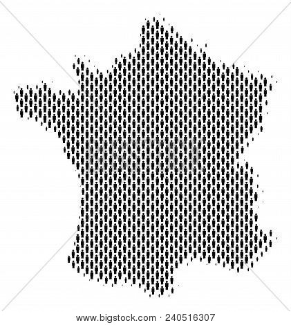Demography France Map People. Population Vector Cartography Concept Of France Map Constructed Of Cro
