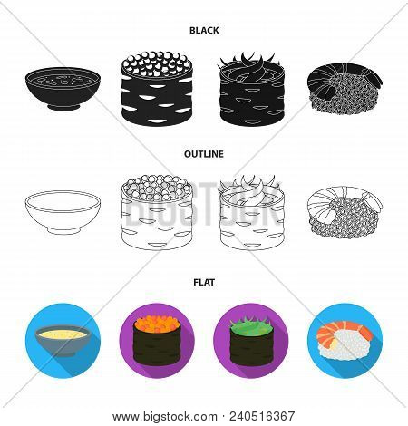 Bowl Of Soup, Caviar, Shrimp With Rice. Sushi Set Collection Icons In Black, Flat, Outline Style Vec
