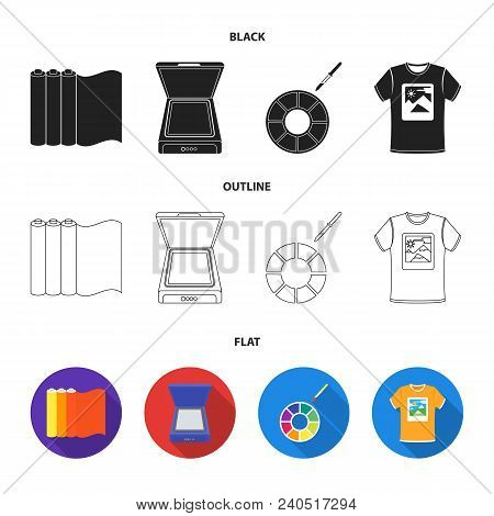 Scanner, Color Palette And Other Equipment. Typography Set Collection Icons In Black, Flat, Outline