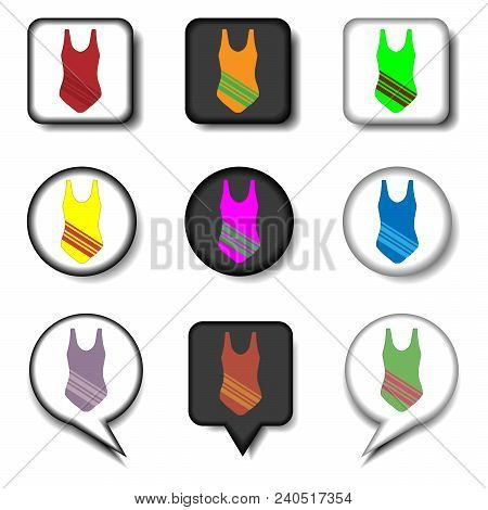 Vector Icon Illustration Logo For Set Symbols Sea Suit Swimsuit. Swimsuit Pattern Consisting Of Flat