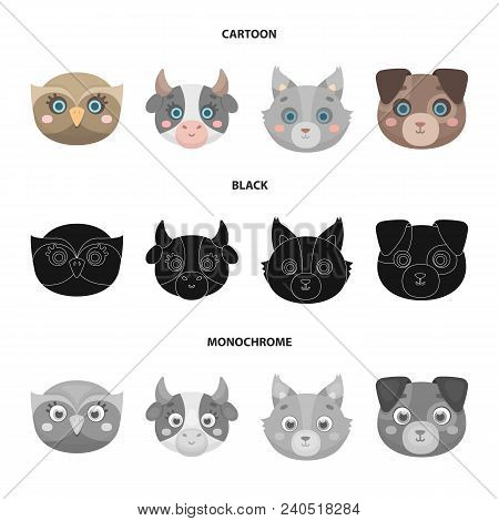 Owl, Cow, Wolf, Dog. Animal Muzzle Set Collection Icons In Cartoon, Black, Monochrome Style Vector S