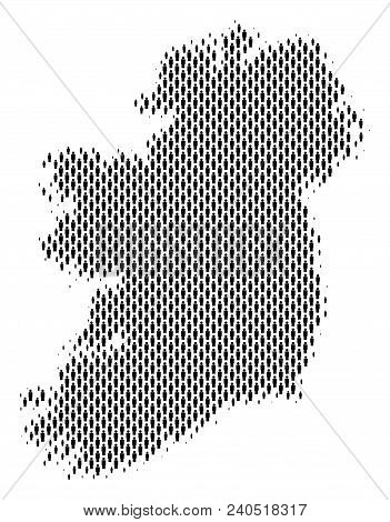 Demography Ireland Island Map People. Population Vector Cartography Pattern Of Ireland Island Map Ma
