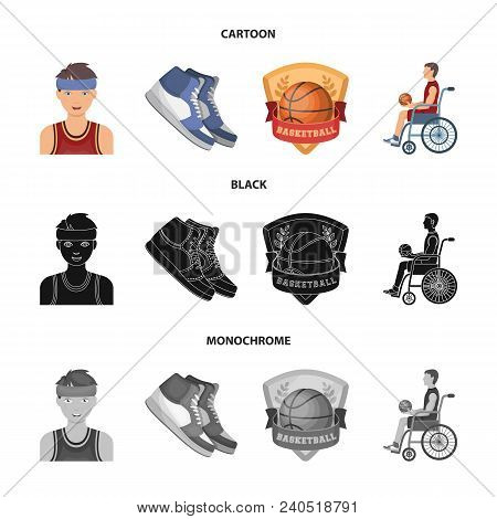 Basketball And Attributes Cartoon, Black, Monochrome Icons In Set Collection For Design.basketball P
