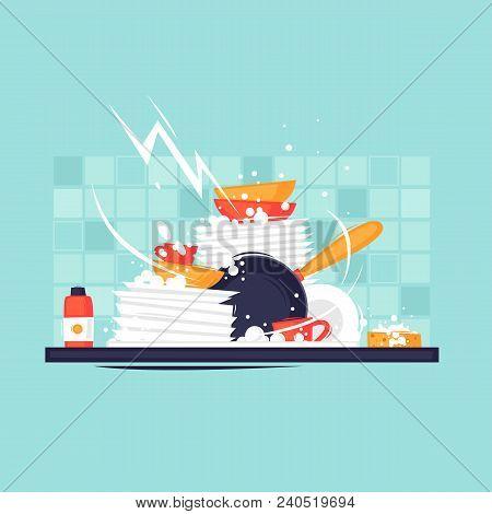 Dirty Dishes. Sink, Kitchen, Food. Flat Design Vector Illustration.