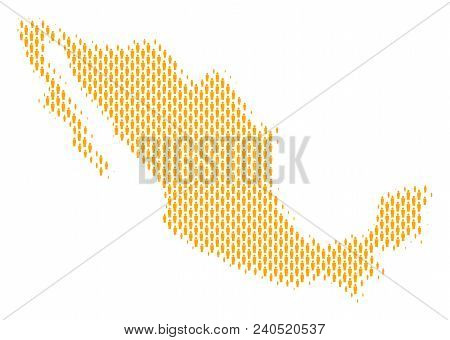 Demography Mexico Map People. Population Vector Cartography Pattern Of Mexico Map Combined Of Crowd