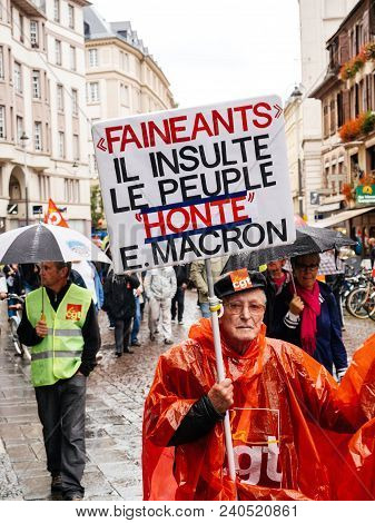 Strasbourg, France - Sep 12, 2018: Shame Macron Placard In Male Hand During A French Nationwide Day